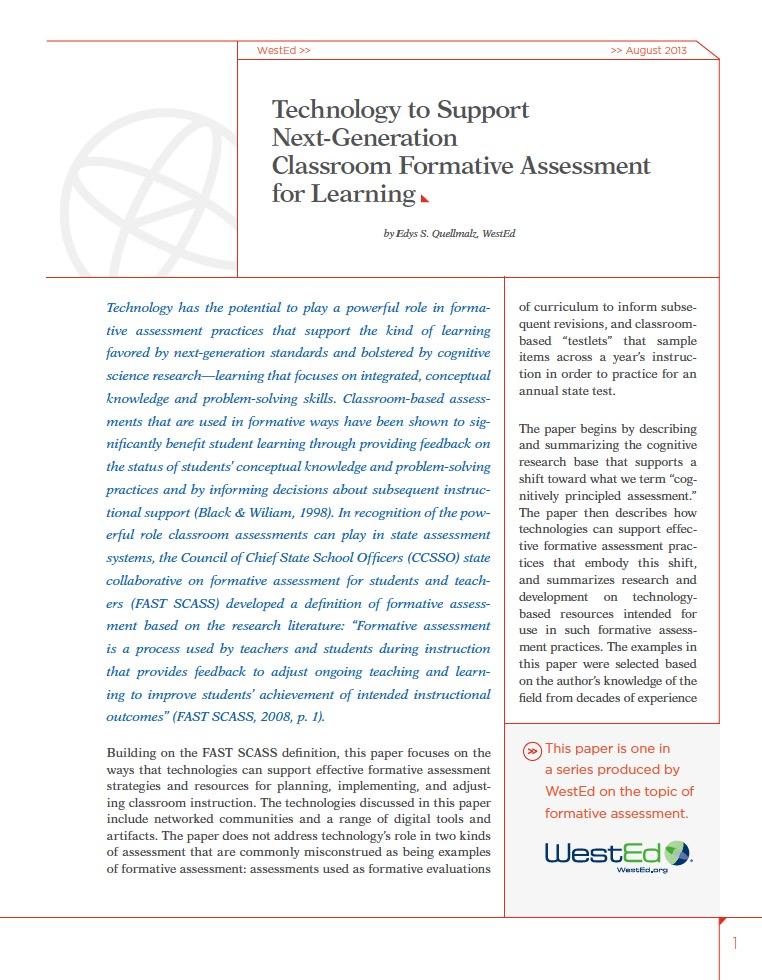 Technology To Support NextGeneration Classroom Formative Assessment
